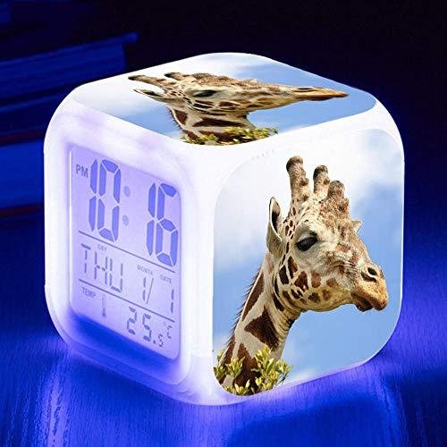 HHCYY Giraffe Kinder Wecker Wake Up Lichtwecker 7 Farben Led Ändernder Digitaler Wecker,Würfelwecker Nachtlicht Beleuchteter Anzeige Zeit Datum Temperatur (A77)