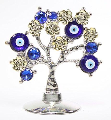 Turkish Blue Evil Eye Gold Flowers Money Fortune Tree...