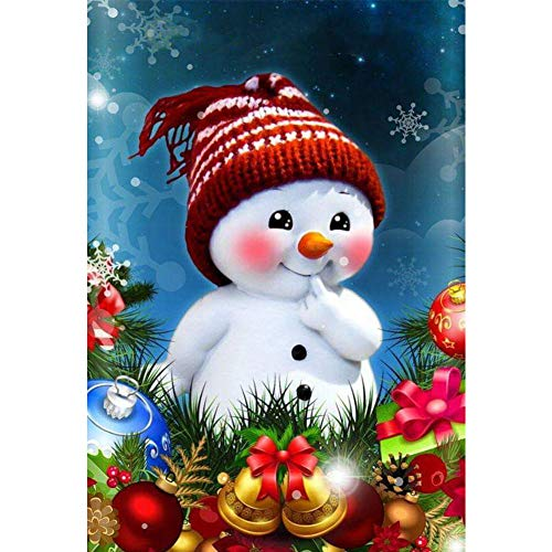 Christmas 5d DIY Diamond Painting by Number Kits for Adults,Diamond Art Kits Crystal Rhinestone Embroidery Diamond Dotz Cross Stitch Craft Home Decorations Snowman Gift(Canvas Size: 11.8 X 15.75 in)
