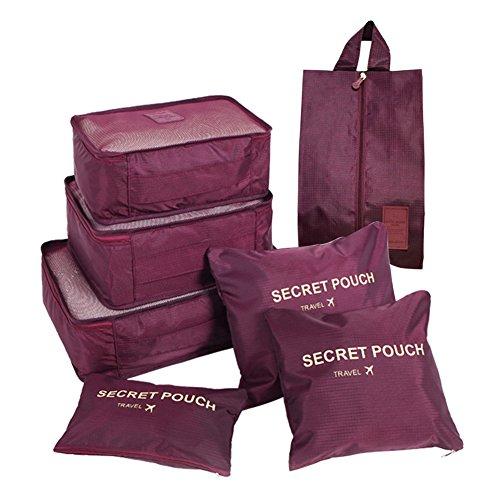FunYoung Kleidertaschen-Set 7-teilig Reisetasche in Koffer Wäschebeutel Schuhbeutel Kosmetik Aufbewahrungstasche Farbwahl (Weinrot)