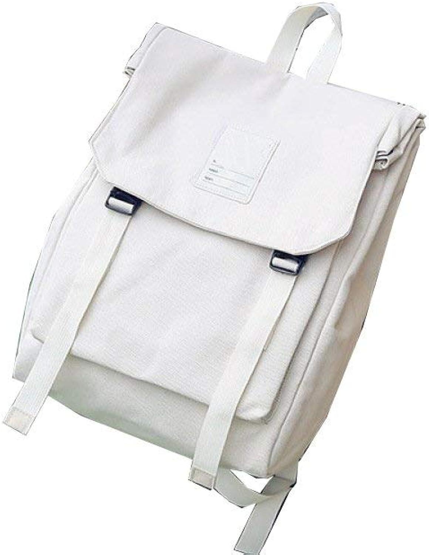 Campus Backpack Female Backpack 2018 New Backpack Flip Student Bag Canvas Canvas Backpack School Rucksack (color   Beige, Size   Medium)