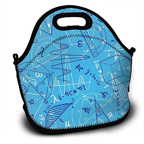 Lunchbox, Mathematik Trigonometrische Funktion Blaue Lunch-Tragetaschen Lunch-Bag Lunchboxen Handtasche Frau Lunch-Tasche 27,5 x 29 x 14,5 cm