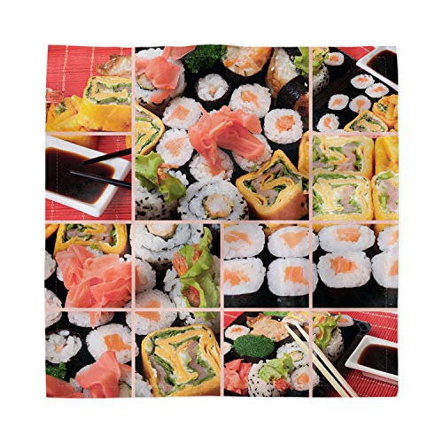 Ambesonne Japanese Decorative Satin Napkins Set of 4, Cuisine Sushi Fish Raw Meat Rolls South East Fast Food Ceremony Artwork, Square Printed Fabric Party & Dinner Napkin, 18', Multicolor