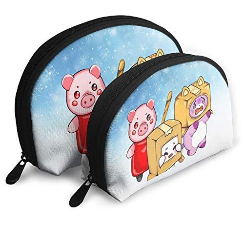 XCNGG Lankybox Merch Lankybox Boxy Fashion Cosmetic Bags Borsa portatile Clutch Pouch Set Donna Uomo Borsa da viaggio con cerniera Borsa Organizer 2 pezzi