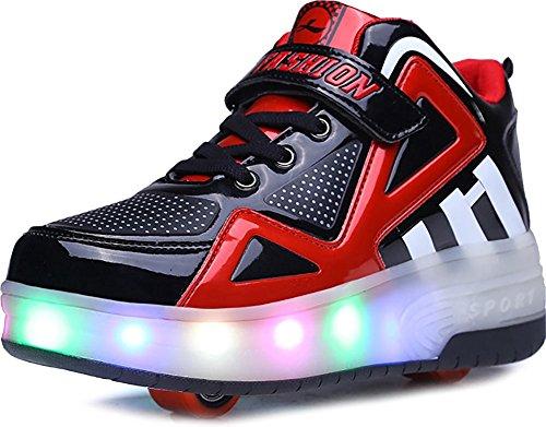 FG21ds21g Kids Wheelies LED Light Up Shoes Lightweight Fashion Sneakers Double Wheels Roller Skate Shoes(Black 31 M EU/13 M US Little Kid)