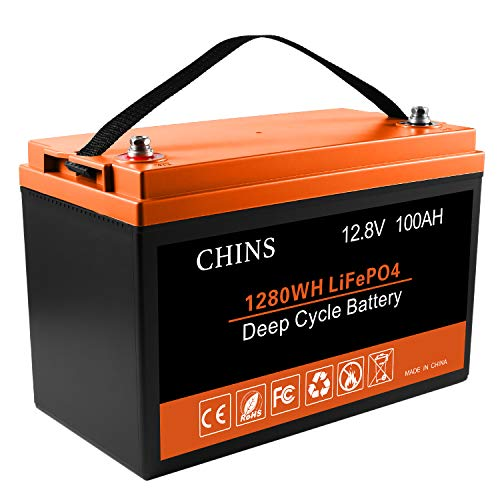 CHINS 12V 100Ah LiFePO4 Deep Cycle Battery, Built-in 100A BMS, 2000-5000 Cycles, Each battery Can Support 1280W Power Output, Perfect for RV, Caravan, Solar, Marine, Home Storage and Off-Grid