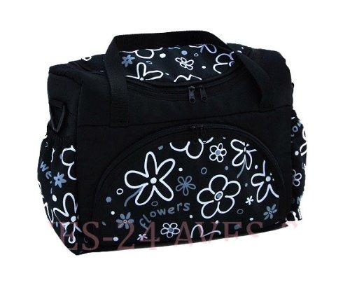 BABYLUX Wickeltasche Kinderwagentasche Schwarz + Blumen #6 mit Wickelunterlage