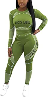 ZOCAVIA Women 2 Piece Outfits Tracksuit Sets Bodycon Long Sleeve Top Skinny Long Pants Sexy Stretchy Jogging Suits