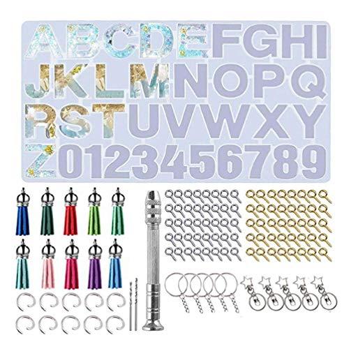 Molde de resina epoxi de cristal alfabeto letra número colgantes de fundición de silicona moldes de silicona para resina