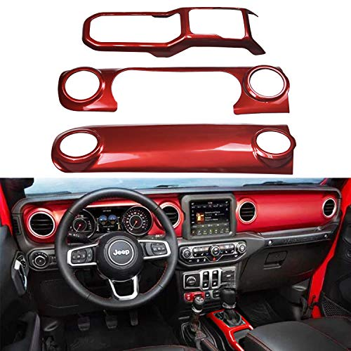 Bolaxin Red ABS Center Console Interior Trim Dashboard Decorative Cover Compatible for Jeep Wrangler JL 2018 2019 (Red)