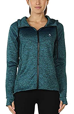 icyzone Workout Track Jackets for Women - Athletic Exercise Running Zip-Up Hoodie with Thumb Holes (M, Royal Blue)