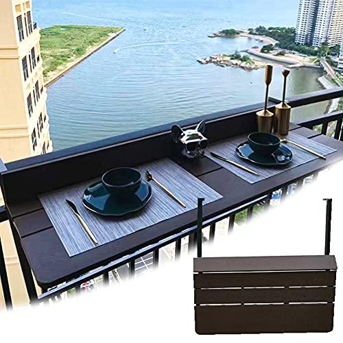 Madera Plegable Colgante para Balcón, Plegable para Balcón Ajustable con 5 Niveles de Altura de Escritorio Ajustable, Tamaño de Escritorio: 120 / 27CM * 47.24/10.63in,A Width 27CM