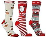 Damen Socken mit Muster, Motiv Weihnachten, gr 37-42 - 3 Paar