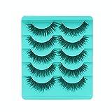 Makalon 5 Paare Falsche Wimpern, Kreuz und Quer, 3D False Eyelashes Künstliche Wimpern Set, Natürliche Pure Handgemacht Wiederverwendbar Wimper Make Up