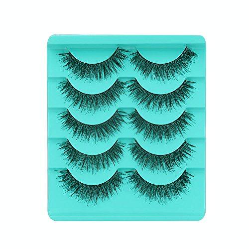 Faux Cils Natural 5 Paires Faux Cils à La Main RéUtilisables Ultra-Minces Volumineux Maquillage Extension Cils (1cm-1.5cm, Noir)