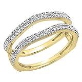 Anillo doble para mujer, 0,48 quilates (peso total), oro de 10 quilates, diamante blanco r...