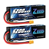 Zeee 2S 5200mAh Lipo Battery 7.4V 80C Battery with XT60 Plug Hard Case for 1/8 1/10 RC Vehicles Car Traxxas Slash X-Maxx RC Buggy Truggy RC Airplane UAV Drone(2 Packs)