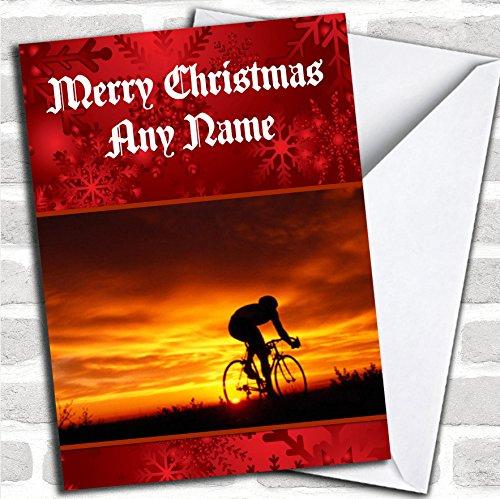 Fietsen/fiets kerstkaart met envelop, volledig gepersonaliseerd, snel en gratis verzonden