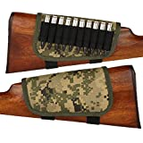 BronzeDog Nylon Adjustable Buttstock Holder Rifles .30-30 .308 .30-06 Winmag Padded Camo Shell Holder Pouch Bag Right Handed Hunting Accessories (Pixel Camo)