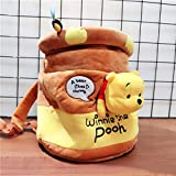 Zzlush Shoulder Bags Plush Backpack Stuffed Bag Toys, Winnie the Pooh Kawaii Pooh Bear Honeypot Stuffed Plush Backpack Cute Anime Pooh Plush Bucket Bag Gifts for Kids Girls (Color : Yellow)