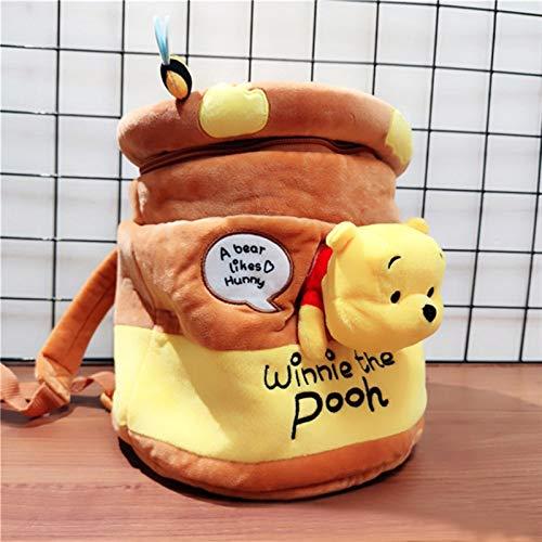 Mcttui Plüsch Rucksack Gefüllte Tasche Spielzeug, Winnie The Pooh Kawaii Pooh Bär Honeypot gefüllt Plüsch Rucksack Nette Anime Pooh Plüsch Bucket Tasche Geschenke für Kinder Mädchen (Color : Yellow)