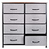 KINWELL Extra Wide Fabric Storage Organizer Clothes Drawer Double Dresser with Sturdy Steel Frame, Wooden Tabletop, Easy Pull Fabric Bins Organizer Unit for Bedroom Hallway Closet-8Drawers