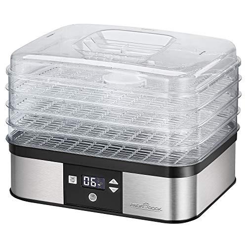 ProfiCook PC-DR 1116 droogautomaat, 7-traps elektronische temperatuurinstelling, convectiefunctie, timer, lcd-display, variabel gebruik, roestvrijstalen behuizing, 350 watt