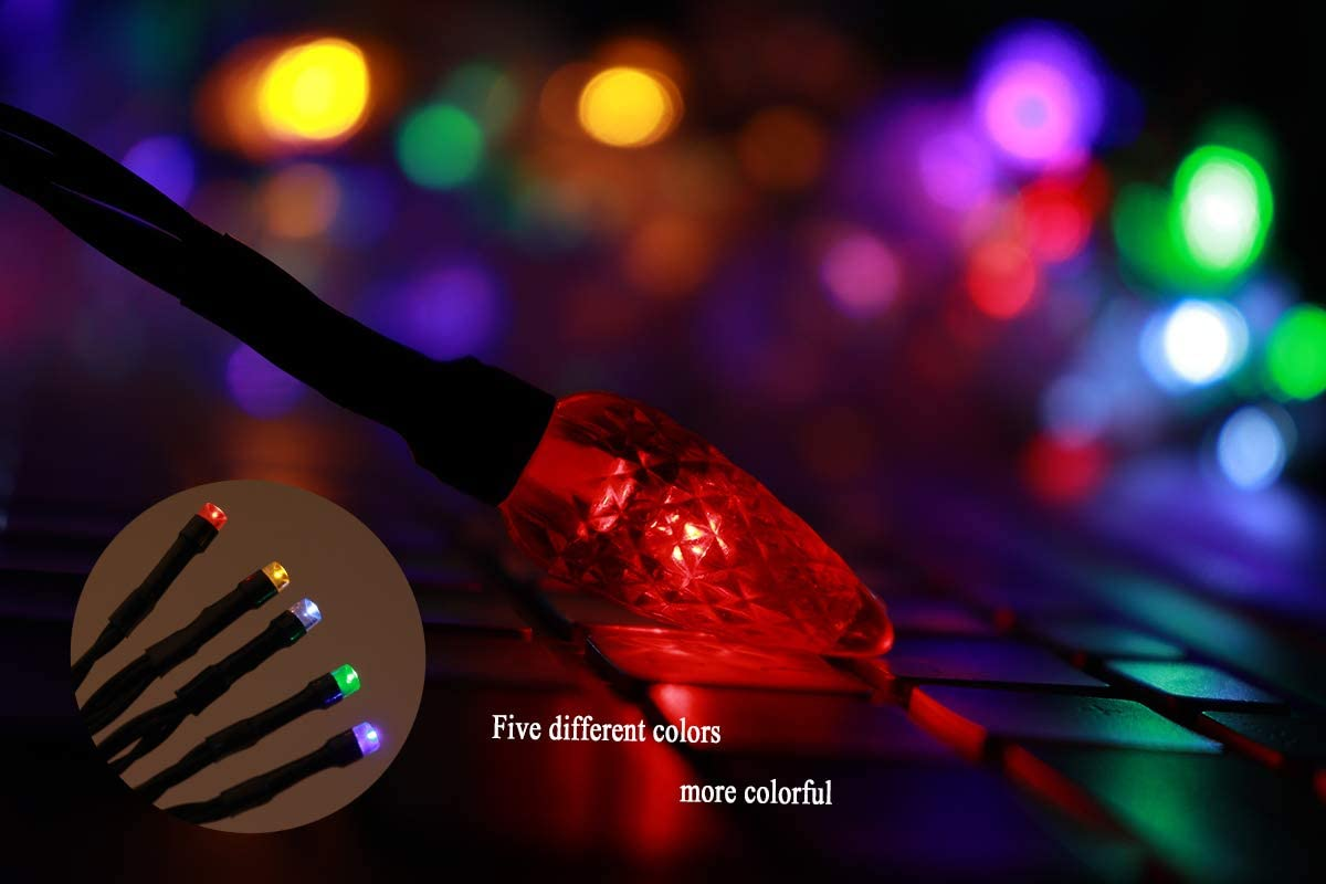 YAGE Tale LED Christmas Light Phone Charger Cord USB Type-C and Bulb Charging Cable 50inch 10led Multicolor Bulb,Compatible with Type-C