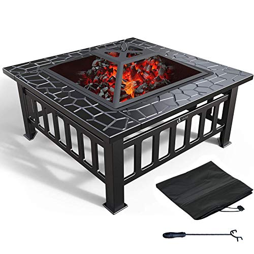 YXMxxm 3 in 1 Outdoor Fire Pit,Metal Brazier Square Table Firepit Garden Patio Heater/BBQ/Ice Pit with Waterproof Cover (Upgraded)