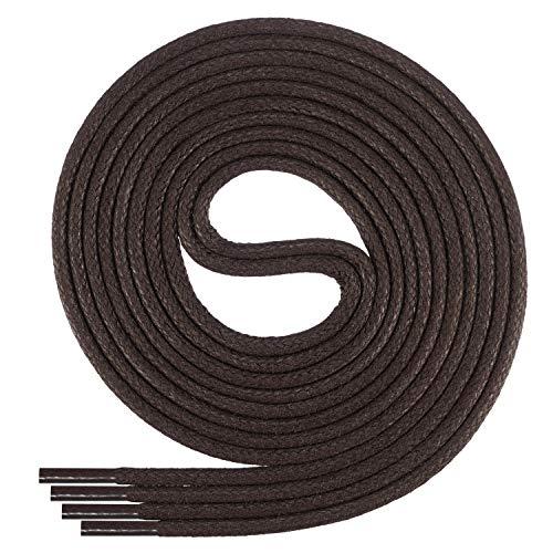 Di Ficchiano-SW-03-dark.brown-100 gewachste runde Schnürsenkel, Schuband, Laces, Durchmesser 2-4 mm für Businessschuhe, Anzugschuhe und Lederschuhe