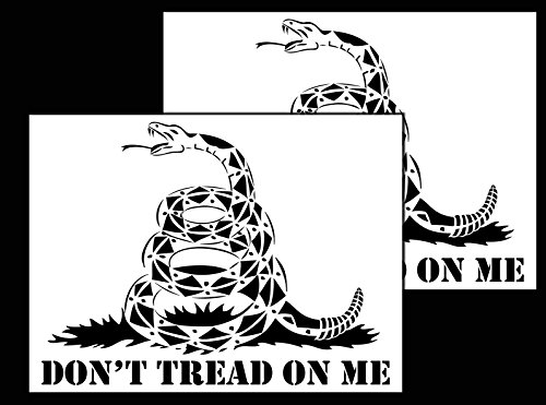 Acid Tactical 2 Pack - 9x14 Camouflage Design Airbrush Spray Paint Stencils - Duracoat Gun Duck Boat Camo (Select Design) (Gadsden Flag (Don't Tread on me))