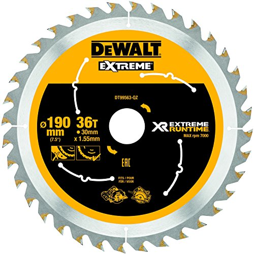 Dewalt XR Extreme Runtime Kreissaegeblatt Handkreissäge, 1 Stück, 190/30 mm 36 WZ/FZ, DT99563-QZ