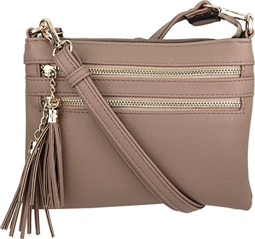 B BRENTANO Vegan Mini Multi-Zipper Crossbody Handbag Purse with Tassel Accents (Nude)