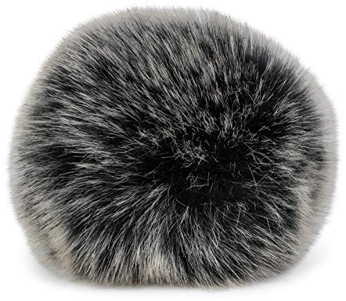 styleBREAKER Kunstfell Bommel für Mützen und Beanies, Fake Fur, Winter Fellbommel 04024161, Farbe:Schwarz-Weiß