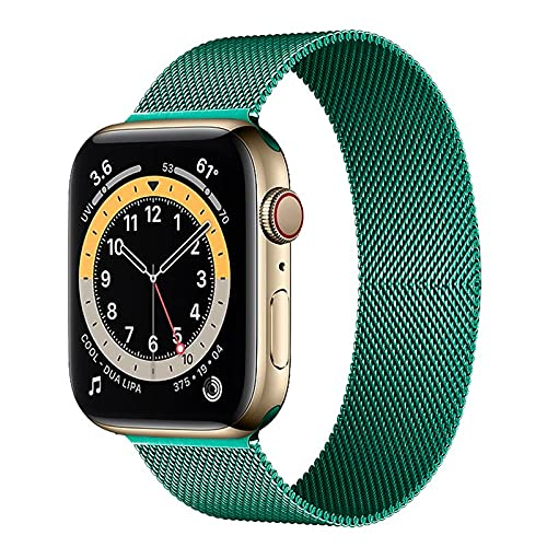 Hspcam Milanese Loop Correa para Apple Watch Band 44mm 40mm 38mm 42mm Acero inoxidable Metal pulsera correa iWatch series 6 5 4 3 se 2 1 (verde pino, 42mm o 44mm)