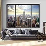 murando - Ilusion Optica 3D 210x150 cm - Fotomural Poster Finestra - Fotomurales Papel pintado - Quadro Ciudad City New York Panorama