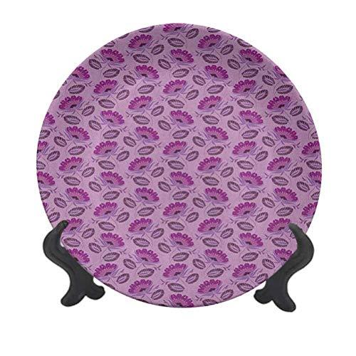Plato decorativo de cerámica de 20,32 cm, diseño floral inspirado en Damasco, ilustración de la naturaleza, estilo victoriano, para eventos de lujo, cenas, bodas, etc.