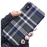 iPhone 11 ケース 英国風 チェック柄 全面保護ガラスフィルム付属 かわいい 耐久性 アイフォン おしゃれ スマホ ガラスフィルム (iPhone 11, チェックブルー)