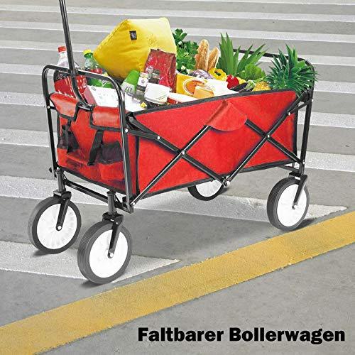 Faltbarer Bollerwagen Faltbar Handwagen Faltwagen Klappwagen Klappbar Falten Gerätenwagen Strandwagen Gartenwagen Gartenanhänger Transportwagen,bis 100 kg Tragkraft, Rot