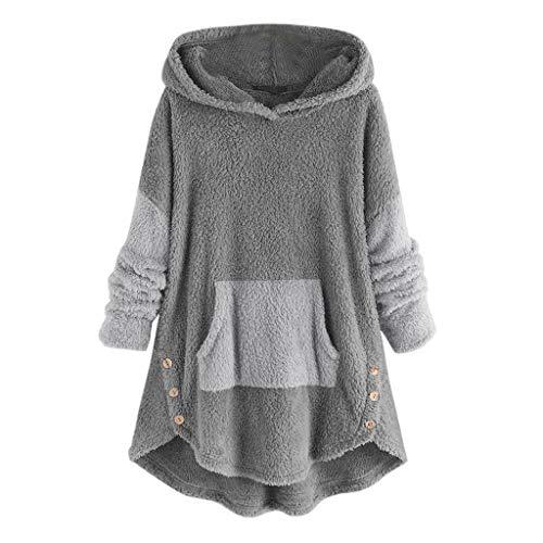 Aotifu Hoodies for Women Fleece Asymmetrical Button Hem Plus Size Top Sweater Blouse Pullover Hoodie Overcoat Outwear (004Gray,XL)