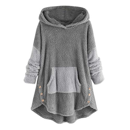 Aotifu Hoodies for Women Fleece Asymmetrical Button Hem Plus Size Top Sweater Blouse Pullover Hoodie Overcoat Outwear (004Gray,XL)