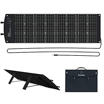 ELECAENTA Foldable Solar Panel Charger 100W Panel Solar 18V with DC Type-C PD45W USB QC3.0 for Jackery/Rockpals Power Station Laptops