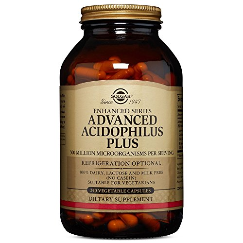 Solgar Advanced Acidophilus Plus, 240 Vegetable Capsules - Supports Healthy Intestinal Flora - 500 Million Microorganisms Per Serving - Gluten & Dairy Free - Vegetarian - 240 Servings