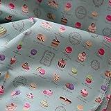 SQINAA Pure Cotton Tissu Exquisite Designs Délicieux Dessert Double Motif pour La Princesse Sweet Dress Shirt Jupe Jupe Vêtements 140X50cm,E