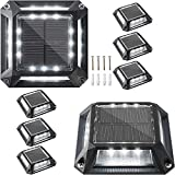 JACKYLED Solar Driveway Marker Lights 8-Pack Solar Powered Dock Lights with 1200mAh Battery Outdoor IP68 Waterproof LED Deck Lighting Road Markers for Driveway Boat Dock Step Path Runway (Cool White)