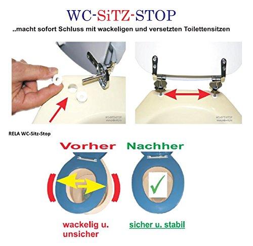 Rela WC-Sitz-Stop (6+8 mm) 2 Paar Einsätze zur stabilen Toilettensitz-, Klobrillen-Befestigung