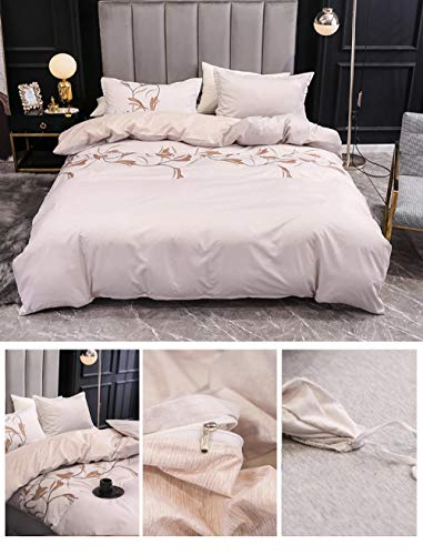 EWYTWD Duvet Cover Set Twin Size Molan-Cream White Pattern 3 pcs Bedding Set+ 2 Pillowcases - Ultra Soft Duvet Covers Hypoallergenic Polyester Quilt Cover Sets 150x200cm