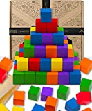 Jaques of London Wooden Building Blocks for Kids | 100 pieces Maths Cubes | Montessori Toys for 3 4 5 year olds Boy and Girls | Wooden Toys Building Blocks for 3 4 5 Year olds | Since 1795