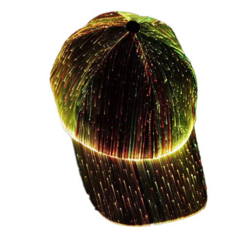Gorra luminosa de fibra óptica LED, para exteriores, con visera luminosa, color negro