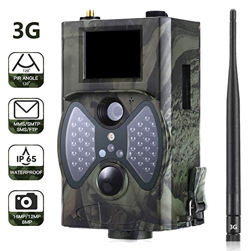 """CAMVILD 3G Cellular Trail Camera Fast Photo Transmission 16MP 1080P Full HD with Night Vision 2.0"""" LCD Motion Waterproof IP65 Wildlife Camera Game Camera for Outdoor Wildlife Watching Home Security (Cellular Trail Cameras That Work With Verizon)"""